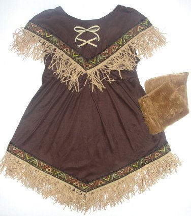 CALIFORNIA COSTUME Lil' Indian Princess Halloween Costume L 4-6, Faux Fur Gown