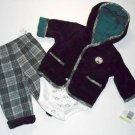 LITTLE ME Boy's 3 Months 3-Piece POLAR BEAR Outfit, Plaid Pants, Velour Jacket