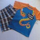 TOUGHSKINS Boy's 4T Snake CLEVER LIL DUDE Shirt Plaid Shorts Outfit, Set
