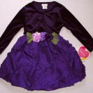 YOUNGLAND 2T Girl's Purple Occassion Velour Floral Dress Shrug Set, NEW