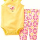 CARTER'S Girl's 3 Months Yellow Bird Tank Shirt, Hot Pink Floral Pants Set,