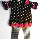 BONNIE BABY Girl's 6-9 Months Black Dot Pink Rose Tunic Dress Leggings Set