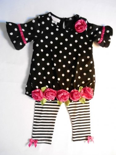 BONNIE BABY Girl's 6-9 Months Black Dot Pink Rose Tunic Dress Leggings Set