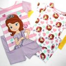 DISNEY SOFIA THE FIRST Girl's Size 4T 4-Piece Pajama Shorts Set
