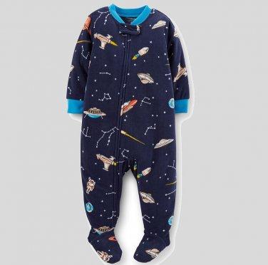 CARTER'S Boy's Size 4T Microfleece SPACE STARS Pajama Sleeper