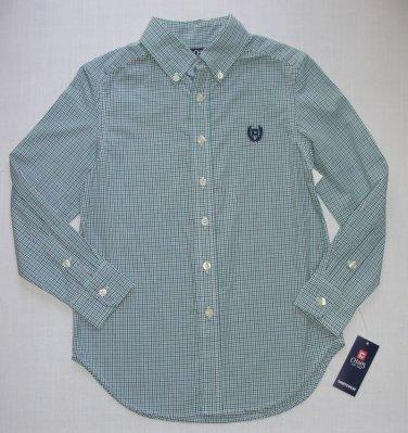 Chaps by Ralph Lauren Boys Size 8 Plaid Blue Button Down Dress Shirt S (8)