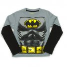 DC COMICS Boy's Size 5/6 Batman Hooded Masked Long-Sleeved Shirt,