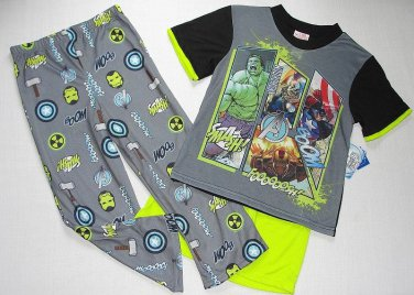 MARVEL AVENGERS HULK, THOR, IROMAN Boy's Size 6 Pajama Set