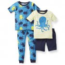 CARTER'S Boy's 6 Months 4-Piece OCTOPUS Pajama Pants Shorts Set