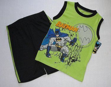 BATMAN Boy's Size 6 Green Black Tank Tee Shirt, Shorts Set, Outfit