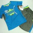 PUMA Boy's Size 4 Turquoise, Gray Athletic T-Shirt, Shirt, Shorts Set, Outfit