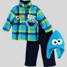 SESAME STREET COOKIE MONSTER 3T Fleece Pullover, Pants, Hat, Outfit, NEW, NWOT