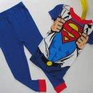 DC COMICS Boy's Size 4 SUPERMAN Costume Short-Sleeved Pajama Top Pants Set