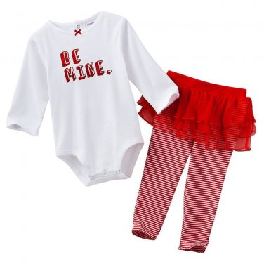 CARTER'S Girl's Size NEWBORN BE MINE VALENTINE'S 3-Piece Set Tutu Leggings
