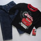 DISNEY CARS Boy's Size 18 Months LIGHTNING MCQUEEN Shirt, Denim Jeans Set