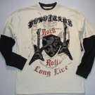 FUBU Boy's Size 12/14 Ivory Black Rock Roll Guitar Long-Sleeved 2fer Shirt