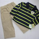 CARTER'S Boy's 18 Months CAPTAIN ADORABLE Striped Polo Shirt, Khaki Pants Set