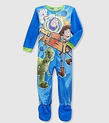 DISNEY TOY STORY BUZZ, WOODY and REX Boy's 4T Fleece Footed Pajama Sleeper, NEW