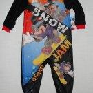DISNEY MICKEY Boy's 3T Snow Boarding Fleece Pajama Sleeper