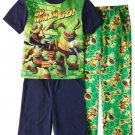 TEENAGE MUTANT NINJA TURTLE Size 8 GO NINJA GO 3-Piece Pajama Set