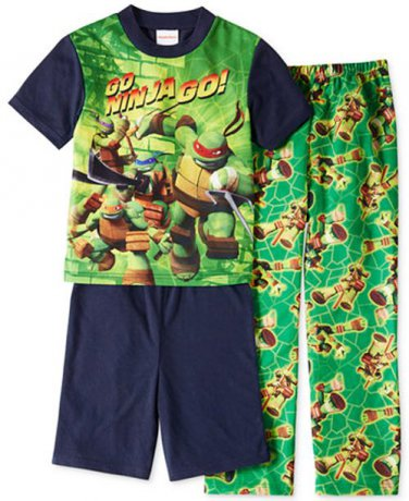 TEENAGE MUTANT NINJA TURTLE Size 8 GO NINJA GO 3-Piece Pajama Set