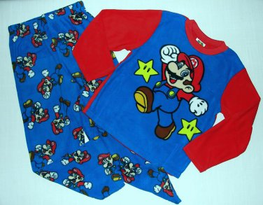 SUPER MARIO Boy's Size 6 Fleece Pajama Pants Set, NEW