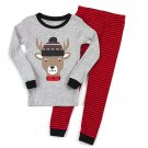 CARTER'S Boy's Size 5 Reindeer in Fair Isle Hat, Striped Pajama Pants Set, NEW