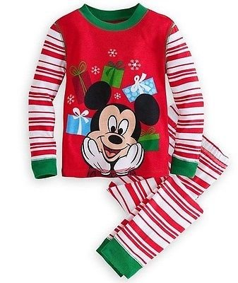 DISNEY MICKEY MOUSE Size 4 Christmas Presents Holiday Pajama Pants Set, NEW