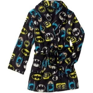 BATMAN Boy's Size 8 OR 10/12 Fleece Bath Robe, Black Print Bathrobe