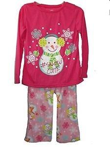 Girl's Size 7/8 Pink Fleece Pajama Pants Snowman Cute PJ Top Set
