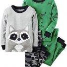 CARTER'S Boy's Size 3T, 4T OR 5T RACCOON Camo 4-Piece Pajama Set