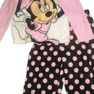 MINNIE MOUSE Girl's Size 4T Fleece Polka Dot Pajama Set