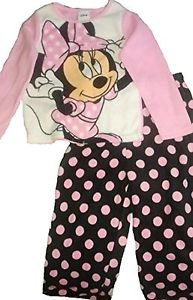 MINNIE MOUSE Girl's Size 4T Fleece Polka Dot Pajama Set