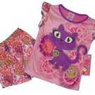 Girl's Size 4/5 OR  7/8 Purple Peace Kitty Satin Pajama Shorts Set