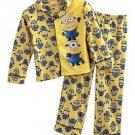 DISNEY DESPICABLE ME MINIONS Boy's Size 6 Yellow Graphic Flannel Coat Pajama Set