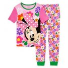DISNEY MINNIE Size 2, 3, 5, 6, OR 8 FLOWERS Cotton Short Sleeve Pajama Set