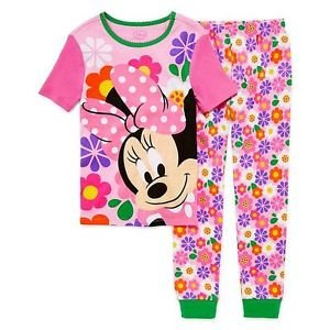 DISNEY MINNIE Size 2, 3, 5, 6, OR 8 FLOWERS Cotton Short Sleeve Pajama Set