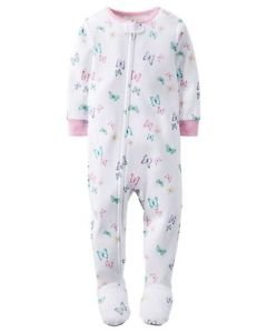 Toddler Girl's Size 4T OR 5T Cotton White Butterfly Footed Pajama Sleeper