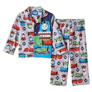Thomas and Friends Boy's 3T Flannel Coat Pajama Pants Set