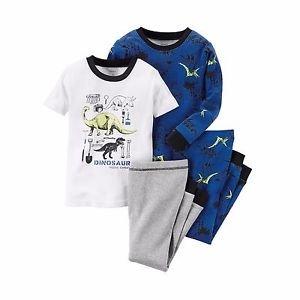 Boy's 5, 6, 7, 8, 10 OR 12 Glow-in-the-Dark 4 Piece Dino Dinosaur Pajama Set