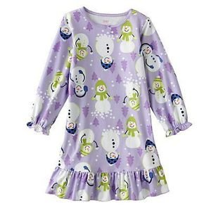 CARTER'S Girl's Size 4/5 Christmas Snowman Fleece Nightgown, Gown