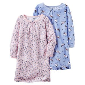 CARTER'S Girl's Horse, Pony and Floral Size 8-10 Nightgown Set
