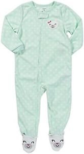 Carter's Girl's Size 24 Months Fleece Mint Green Dot Pajama Sleeper