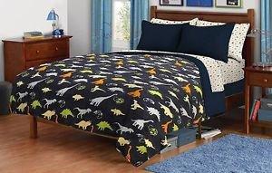 Children's Twin/Full Navy Dinosaur Print Plush Fleece Blanket