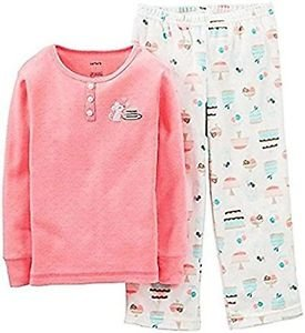Carter's Girl's Size 5 Desserts Cotton Pajama Top Fleece PJ Pants Set