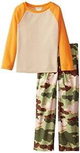 Boy's Size 6/7 Thermal Waffle Pajama Top and Flannel Camo Pants, PJ Set