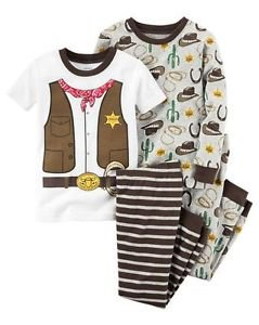 CARTER'S Boy's Size 3T, 4T OR 5T Western Cowboy 4-Piece Pajama Set