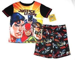 JUSTICE LEAGUE Boy's Size 6 OR 8 Super Heroes Batman Robin Pajama Shorts Set