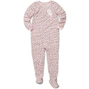 CARTER'S Girl's Size 4T Pink Leopard Print Fleece Pajama Footed Sleeper