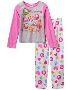 Girl's Size 8 Team Shopkins Apple Blossom, Poppy Fleece Pajama Set